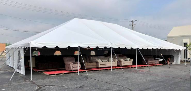 Furniture tent parking lot sale at Simplicity in Evansville