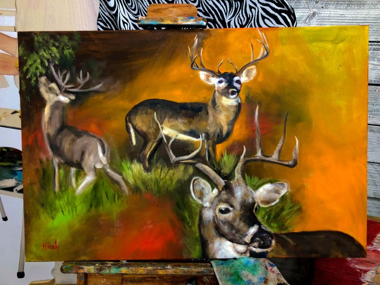 whitetail deer oil painting maggie shively