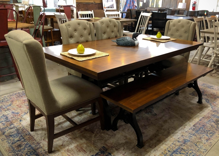 dining room table chairs bench pat cosletts simplicity furniture evansville