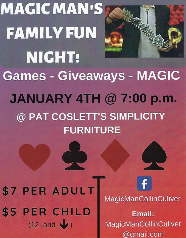 magician collin culiver magic flyer evansville pat cosletts