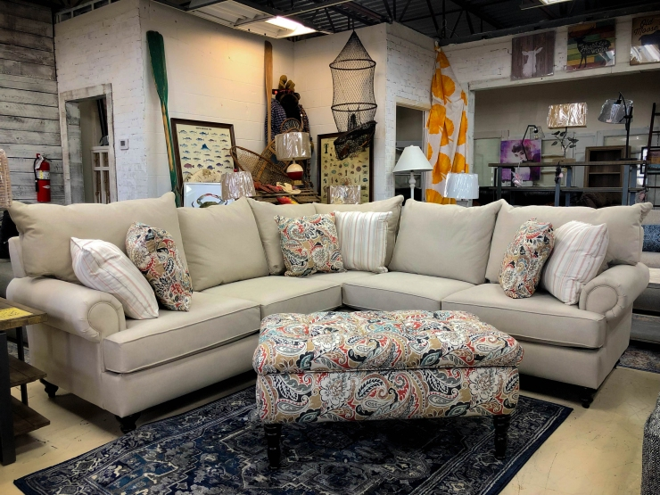 sectional pillows ottoman couch pat cosletts simplicity furniture evansville